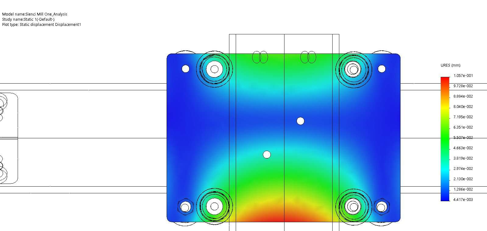 Using FEA to find maximum deflection in the XZ gantry